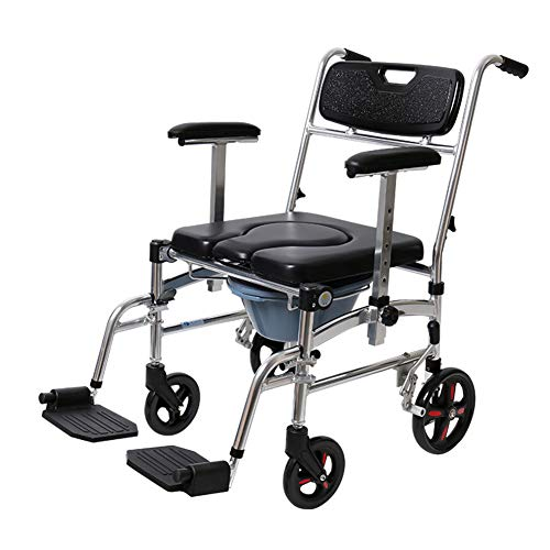 Commode Chair With Wheels - Shower Chair Waterproof Aluminum Portable