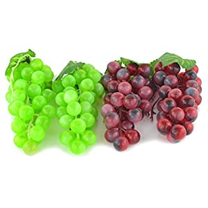 JEDFORE 4 Bunches of Artificial Green & Purple Grape Cluster Simulation Fake Fruit Home House Kitchen Party Decoration Lifelike - 2 Colors 2