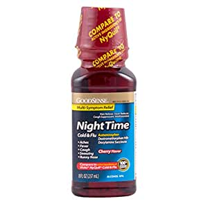 GoodSense Nighttime Cold and Flu Relief Liquid, Cherry Flavor, 8 Fluid Ounce