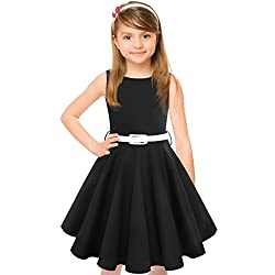 Hbbmagic Girl Dress,round Neck Polka Dots Swing Audrey 50's Vintage Party Dress For Girls (Girl's 5-6, Black)