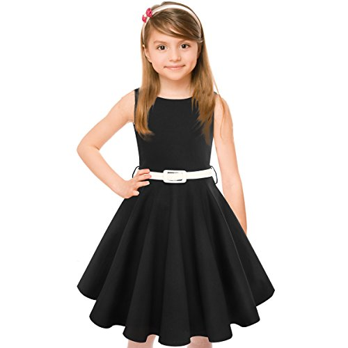 Girls 50s Vintage Swing Rockabilly Retro Sleeveless Party Dress for Occasion Black]()