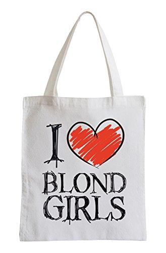 Amo le ragazze bionde Fun sacchetto di iuta
