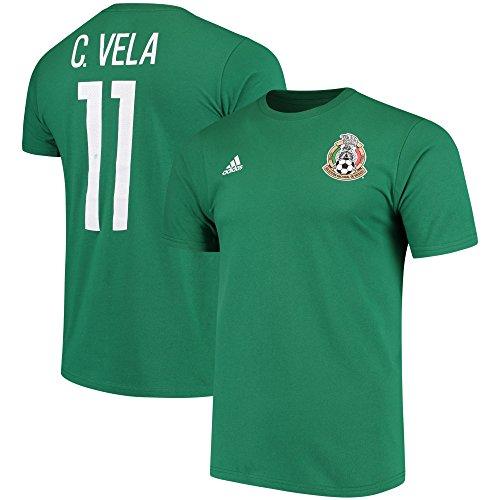 adidas Carlos Vela Mexico National Team Federation Name & Number T-Shirt - Green (Large)