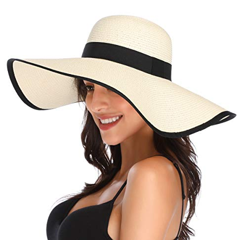 Happy Face Cap (Lanzom Womens Wide Brim Straw Hat Floppy Foldable Roll up Cap Beach Sun Hat UPF 50+ (Style C-Ivory White))