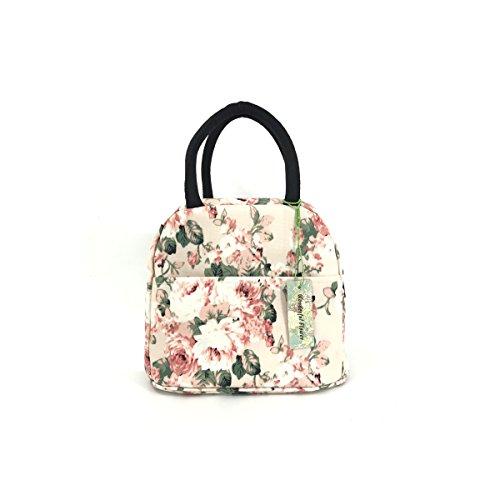 wonderful flower Insulated Lunch Box Cooler Bag lunch bag flower (19Light Pink)