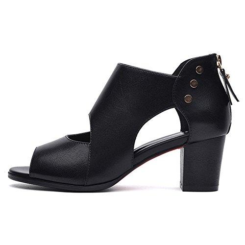 Tamaño boca Roma Verano Color de Zapatos de pescado mujer Zapatos de Zapatos Zapatos UK3 individuales B tacón CN35 B EU36 alto de opcional Color 5 qwHEp4zEx