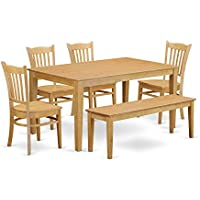 East West Furniture CAGR6-OAK-W 6-Piece Kitchen Table Set with Bench