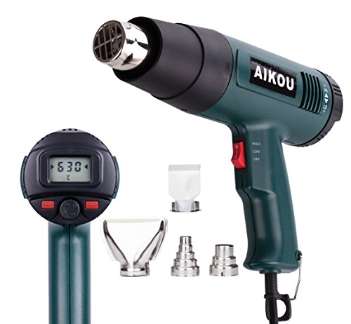 AIKOU Adjustable Temperature Hot Air Heat Gun with Rear Digital Display Fast Heating Blower Kits (Green) by AIKOU