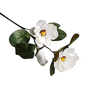 Artificial Flowers,Vibola® Long Branch Magnolia Flower with Leaf Simulation Holding Flowers Bouquet for Indoor Outdoor Party Office Decor (not Include Vase) 27
