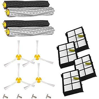 6 filtros y 3 cepillos laterales para iRobot Roomba 800 900 Serie 800 805 850 860 861 866 870 880 890 960 961 964 980 981 985 Ugardo