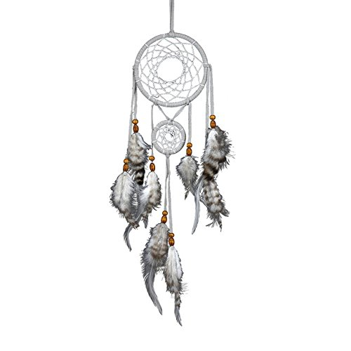 Dream Catcher - 1 Piece Creative Home Decoration Dreamcatcher Gray Two-ring Dream Network Hanging Pure Feathers Gift
