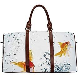 "Aquarium Waterproof Travel Bag,Under the Aquarium Theme Cute Swimming Goldfishes with Vivid Bubbles Image for Travel,18.62""L x 8.5""W x 9.65""H"