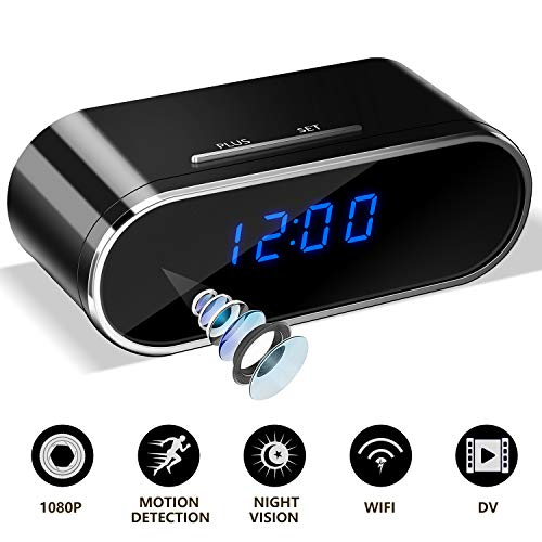 WiFi Hidden Spy Camera Clock – Full HD 1080P Wireless Nanny Cam with Motion Detection, Night Vision, Loop Recording, Real time Video, No Audio for Home and Office Security Surveillance