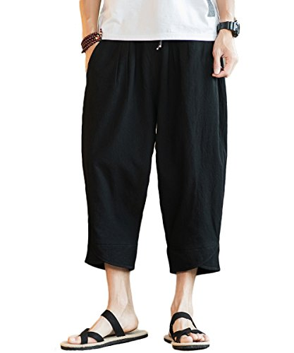 INVACHI Mens Casual Elastic Waist Linen Capri Wide Leg Baggy Harem Pants Trousers (Large, Black 011)