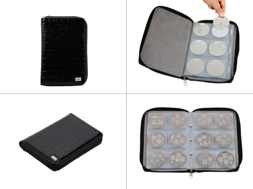 Bundle Monster Nail Stamp Stamping Plate Zippered Synthetic Leather Case Plates Holder Organizer
