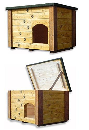 VB Italia - Caseta de madera para exterior, con techo desmontable, para perros,