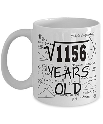 Math Formula Mug 11 OZ - Funny Math Gifts For Teachers, Students - Square Root Of 1156-1984, 34 Year Old Birthday - 34th Birthday Gifts Ideas For Women, Her, Wife, Guys For Birthday Or Mother's Day