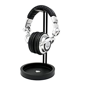 Headphone Stand - Gaming Headset Holder - with damage preventing leather hanger and cable storage tray | tekbotic - for Bose, PS4, and other over-ear headphones