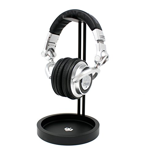 Headphone Stand - Gaming Headset Holder - with damage preventing leather hanger and cable storage tray   tekbotic - for Bose, PS4, and other over-ear headphones