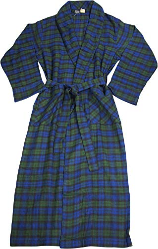 NORTY - Mens Brushed Cotton Flannel Plaid Bathrobe, Blue, Green 40815-X-Large