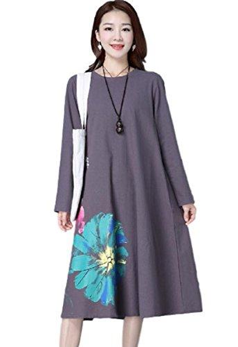 不利貨物現金(ミチコト)MICHIKOTO 大きな花柄 プリント ワンピース かわいい 長袖 ブラック グレー レディース