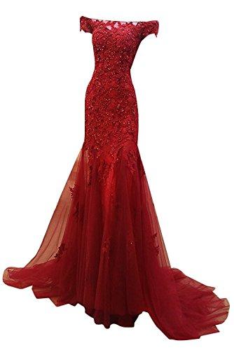 M Bridal Women's Beaded Appliques Cap Sleeve Off Shoulder Mermaid Evening Dress Dark Red Size 12