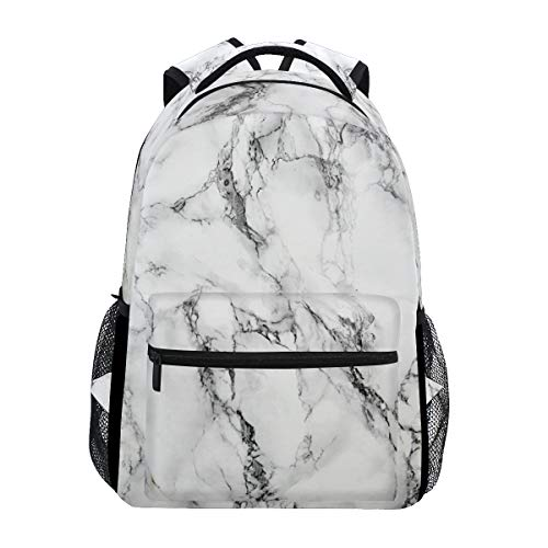 (ZOEO White Marble Girls Backpacks Stone Kids School Bookbags Travel Daypack Bag Purse for 3th 4th 5th)