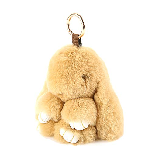 (YISEVEN Stuffed Bunny Keychain Toy - Soft and Fuzzy Large Stitch Plush Rabbit Fur Key Chain - Cute Fluffy Bunnies Floppy Furry Animal Easter Basket Stuffers Gifts Women Bag Charm Car Pendant - Brown)