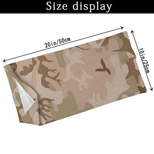 Modern Tan Green Desert Military Camo Camouflage Unisex Microfiber Face Mask Headband Bandana Head Wrap Scarf Neck… 3