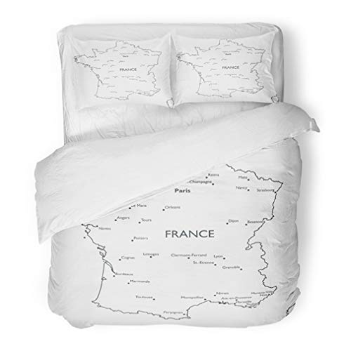 Emvency Bedding Duvet Cover Set Full/Queen (1 Duvet Cover + 2 Pillowcase) Brest Map Of France Monochrome Contour With City Names Caen Capital Lyon Mans Monaco Hotel Quality Wrinkle and Stain Resistant -