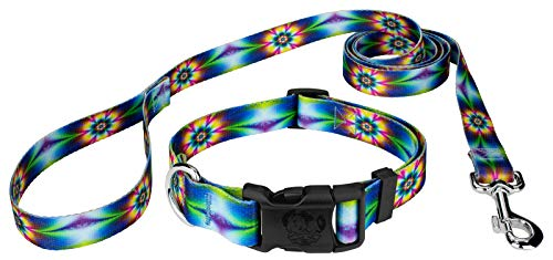 Country Brook Petz - Tie Dye Flowers Deluxe Dog Collar and Leash Set - Groovy Collection with 5 Far Out Designs (1 Inch, Large)