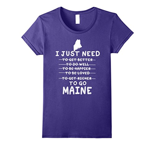Womens I Love My Home Maine  Funny Tshirt Gift For Men Women Small Purple