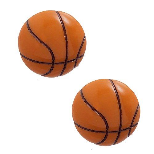 Mini Enamel Basketball - DIY Jewelry: Pack of 2 Mini Basketball Ball Cabochons