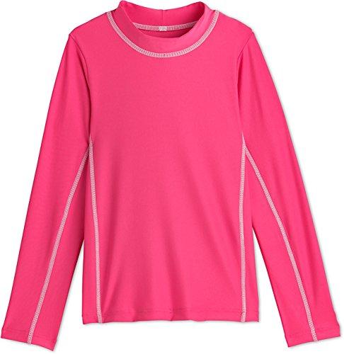 Splash Long Sleeve Rash Guard - Coolibar UPF 50+ Kids' Long Sleeve Surf Shirt - Sun Protective (Medium- Aloha Pink)