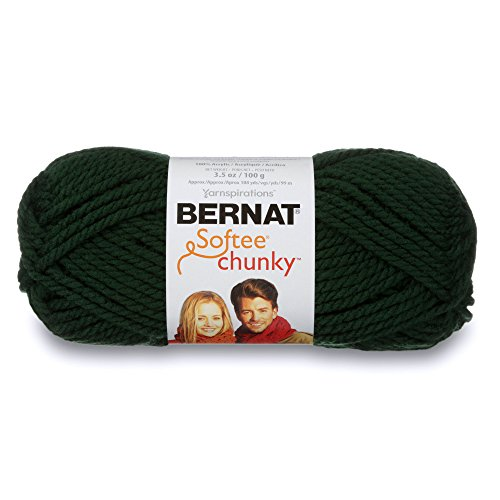 Solid Yarn Grass - Bernat Softee Chunky Yarn, 3.5 Oz, Gauge 6 Super Bulky, Dark Green