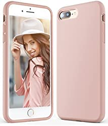 Anker iPhone 8 Plus 7 Plus Silicone Case, KARAPAX Silicone Gel Rubber Shockproof Case Cover with Soft Microfiber Cloth Cushion [Support Wireless Charging] [Slim Fit] for iPhone 8P/ 7P - Blush Pink