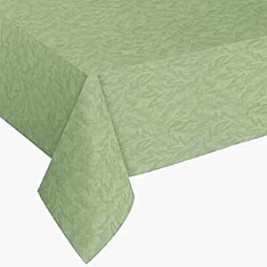 Sonoma Damask Print Flannel Backed Vinyl Tablecloth, 60x102 Oblong (Rectangle), Sage