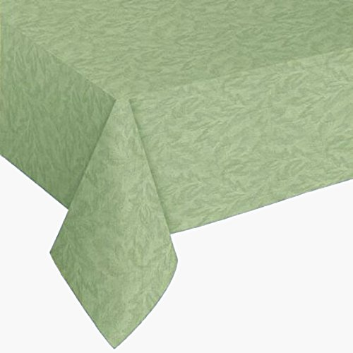 Sonoma Damask Print Flannel Backed Vinyl Tablecloth, 70-Inch Round with Umbrella Hole and Zipper, Sage (Vinyl Zipper)