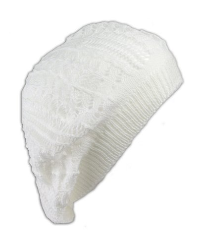 Womens Fashion Crochet Beanie Hat Knit Beret Skull Cap Tam (White)