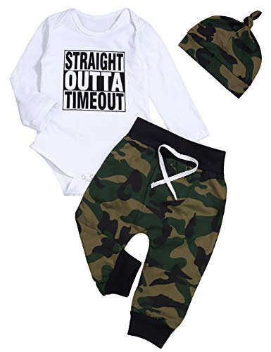 Newborn Infant Baby Boy Girl Clothes Long Sleeve Romper Top,Plaid Pants+ Cute Hat 4Pcs Clothes Outfits Set (F-White, 12-18 Months) ()