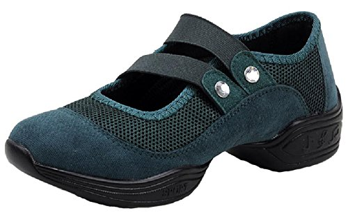 D2C Beauty Womens Slip-On Ballroom Suede Classic Jazz Dance Sneakers Dark Green oWqKlI5G6B