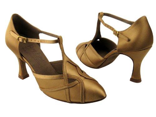 Dames Femmes Chaussures De Danse De Salon Pour Latin Salsa Tango Signature S3801 Tan Satin 3 Talon