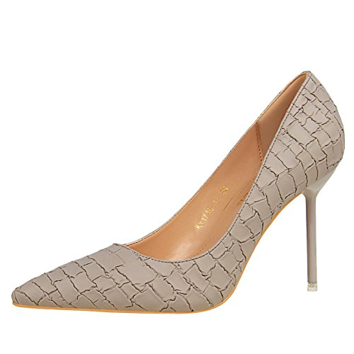MissSaSa Damen elegant high heel Pointed toe Brautschuhe/Pumps Grau
