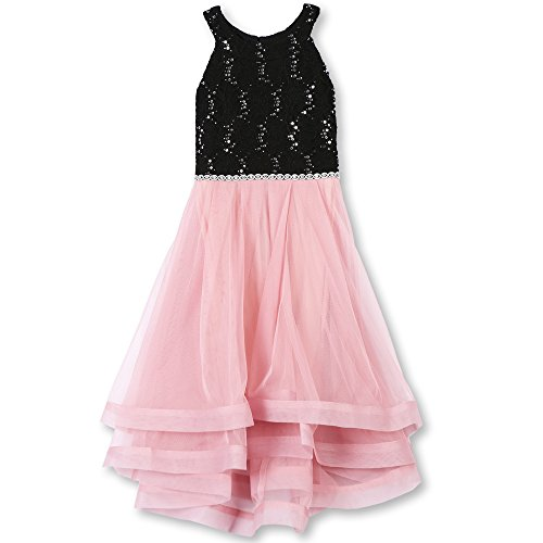 Speechless Girls' Big 7-16 Tween Sparkle Waist Party Dress with Wide Ribbon Hem, Blush Pink and Black, 16 -