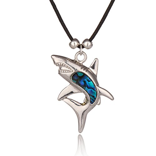Barch Blue Abalone Paua Shell Shark Pendant Necklace Silver Jewelry Mood with Wax Cord/ Stainless Steel Chain for Girls/Boys (Shark 2#)