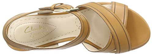 Clarks Scent Sky - Sandalias de cuña Mujer Marrón (Tobacco Leather)