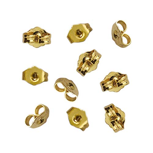 10pcs/5 Pairs 14K Yellow Gold Earring Backs Replacement Secure Ear Locking for Stud Earrings Ear Nut for Posts, 5x6mm (Backs For Earrings)