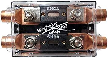 Sky High Car Audio Dual Ring Terminal Fuse Holder W// 2 Fuses 500A Fuse