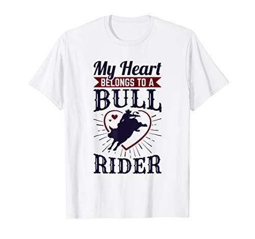 (My Heart Belongs To A Bull Rider T-Shirt Wife Girlfriend)