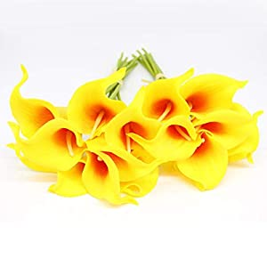 KRexpress 18pcs Home Garden Hotel Party Event Christmas Wedding Gift Decoration Artificial Flowers Calla Lily,Red in Yellow